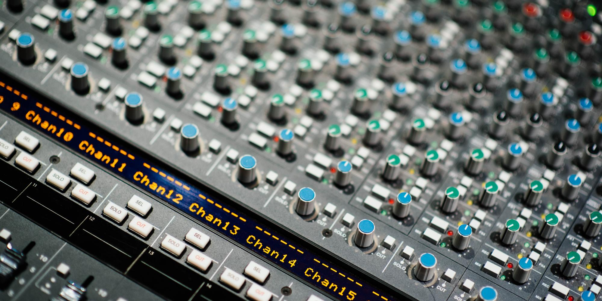 Closeup showing a mixing desk